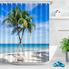Waterproof Fabric Shower Curtain Set White Sand Beach Palm Tree Blue Sky 60x72""