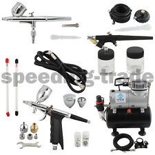 OPHIR 3-Airbrushes Dual Action & Single Action AirBrush Compressor Kit for Hobby