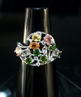 EXQUISITE NATURAL CHROME DIOPSIDE FANCY SAPPHIRE CZ -STERLING 925 SILVER RING
