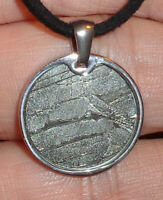 Genuine Meteorite Necklace! Sliced Seymchan Meteor in a Stainless Pendant!