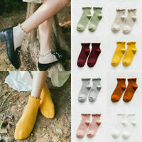 Kawaii Cute Women Solid Color Soft Breathable Ankle-High Casual Cotton Socks