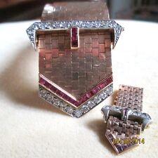 ANTIQUE ART DECO  WIDE 2.75CT DIAMOND & 2.75  RUBY 14KT GOLD BELT BRACELET/RING