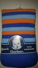 10-pack Gerber Baby Boy Terry Washcloths Blues and Orange