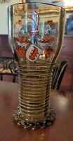 Theresienthal Tumbler Beaker Armorial Enameled Glass Goblet Antique German