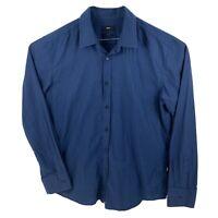 Hugo Boss Mens Blue Slim Fit Long Sleeve Button Up Shirt Size Xl Cotton