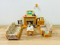 Sylvanian Families Country Living Room Sofa Couch Fireplace Telephone Set