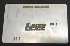 Vintage Lacsa Metal Ticket Validation Plate Travel Agent, Airline Collectible