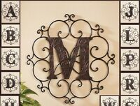 Personalized Bronze Metal Scrolled Monogram Wall Hanging Letter Art Home Decor