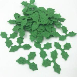 DIY 500pcs Green Holly leaves Felt Appliques for Christmas Decoration DIY 36mm