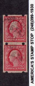 1908 US 2c Washington Brinkerhoff Imperf Pair - Used, EXTREMELY RARE FIND