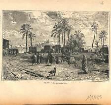 Portes du Caire mosquée chameaux palmiers  Canal de Suez Egypte GRAVURE 1884