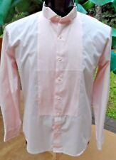 Sale $15.00  Vintg 70s-80s Lt Pink Pleated Front Button Down Tux Shirt L-XL x 35