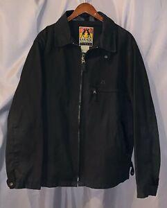 Kakadu Men's LARGE Black Full Zip Longsleeve Oilskin EUC Jacket!