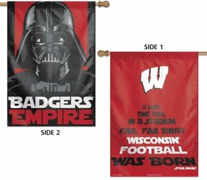 """Wisconsin Badgers Star Wars Darth Vader 2-Sided Vertical Flag, 28"""" x 40"""""""