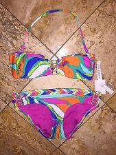 NWT $190 Trina Turk Tropicalia Buckle Front Bandeau Bikini Set Swimsuit Womens 8