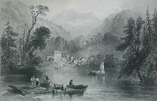 W.H. BARTLETT - A Lake Farm on the Frontier - Framed Engraving - Circa 1841
