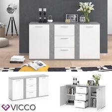 Vicco Buffet Novelli Commode À tiroirs Haut en Béton Blanc 2 portes chiffonnier