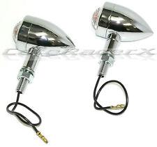 Speeder Bullet Turn Signal Lights Chrome Aluminum with Clear Lens Harley Custom