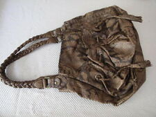 MARC ECKO RED HANDBAG: SNAKE PRINTED BROWN TOTE BAG