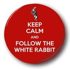 KEEP CALM & FOLLOW THE WHITE RABBIT - 1 inch / 25mm Button Badge - Alice Wonder