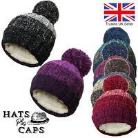 Bobble Hat Fleece Lined Knitted Thermal PomPom Ski Winter Warm Beanie Men Ladies