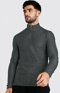 Brand New Unused Boohoo man Jacquard Knitted Muscle fit Half Zip Jumper Black