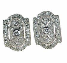 Joseph Esposito Diamonique Solid 925 Sterling Pave Clip-on Earrings '