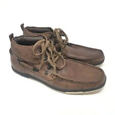 Men's NEW Lounge by Mark Nason High Sneakers Boat Shoes Size 10 Brown Leather I7