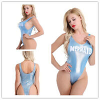 Women One Piece Swimsuit Beachwear Swimwear Shiny Thong Leotard Bodysuit Club