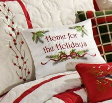 HOME FOR THE HOLIDAYS  EMBROIDERED PILLOW : BERRY WREATH WHITE CHRISTMAS BERRIES