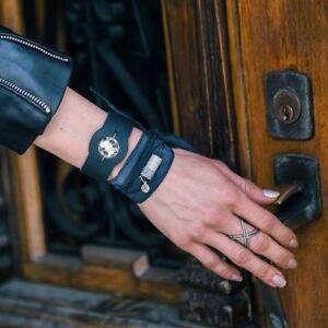 RJP Palazzolo Black Leather Cuff Bracelet Genuine Swarovski Crystal NEW