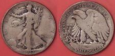 Very Good 1937P US Walking Liberty Silver 50 Cents