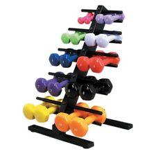 Economy vinyl-coated iron dumbbell, 10 pc set w/floor rack (2 each 1 - 5)