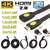 3D HDMI 2160P 4Kx2K HD Male to Female Cable V2.0 w/ Right Angle 90°+270° Adapter