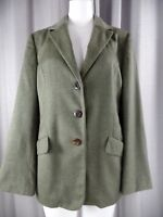 Margon Womens 46 Olive Wool Blend Italy Long Sleeve Classic Blazer Jacket