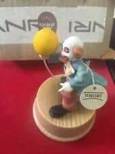 """Vintage Anri Wood Music Box """" Clown With Balloon With Tags. Send In The Clowns"""