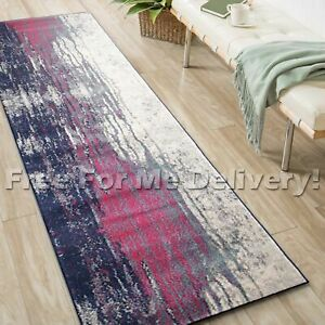 SULIS URBAN PAINTED PINK PURPLE MODERN RUG RUNNER (XL) 80x500cm **FREE DELIVERY*