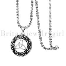 "22"" Vintage Irish Celtic Knot Pendant Stainless Steel Necklace for Men Women"