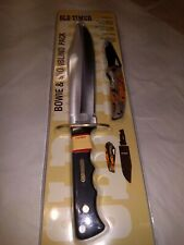 Old Timer Schrade Bowie Knife finger grip handle w sheath full tang+ bonus knife