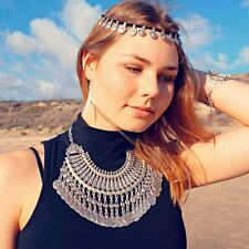 Gypsy Turkish Bohemian Beachy Trial Sliver Coin Fringe Festival Ethnic  Necklace