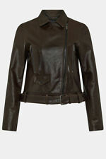Karen Millen Glossy Belted Leather Biker Jacket Sz 10 Bnwt