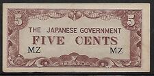 Malaya Japanese Invasion Money 5 Cents 1940's WWII MZ Block