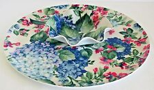 Vintage Blue Hydrangea Chip & Dip Tray Made in New York by Tele-Fun