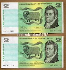 CONSECUTIVE PAIR 1972 C of A TWO DOLLAR BANKNOTES PHILLIPS/WHEELER,,aUnc/Unc
