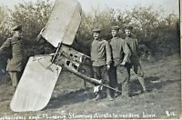 ORIGINAL WW1 GERMAN POSTCARD SHOT DOWN KAMIKAZE TYPE PLANE ATTACK PHOTO POSTCARD