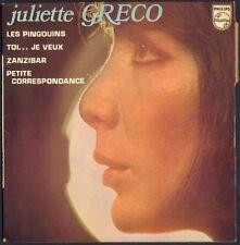 JULIETTE GRECO LES PINGOUINS 45T EP BIEM PHILIPS 6210.010 VINYLE NEUF / MINT