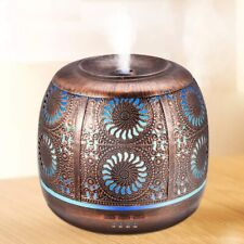 Air Humidifier 500ml Bronze Metal Aromatherapy Essential Oil Diffuser Light Lamp