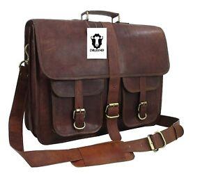 "18"" Men's Best Quality Hide Leather Laptop Messenger Shoulder Briefcase Handbags"