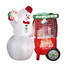 CHRISTMAS ANIMATED INFLATABLE SNOWMAN WITH POPCORN MACHINE