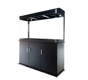 Aquarium Fish Tank with Cabinet - 230L Glass SMD LED Black White Pump Filter